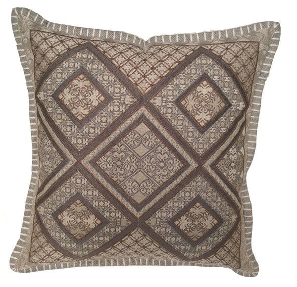 Over the Taupe Embroidered Pillow