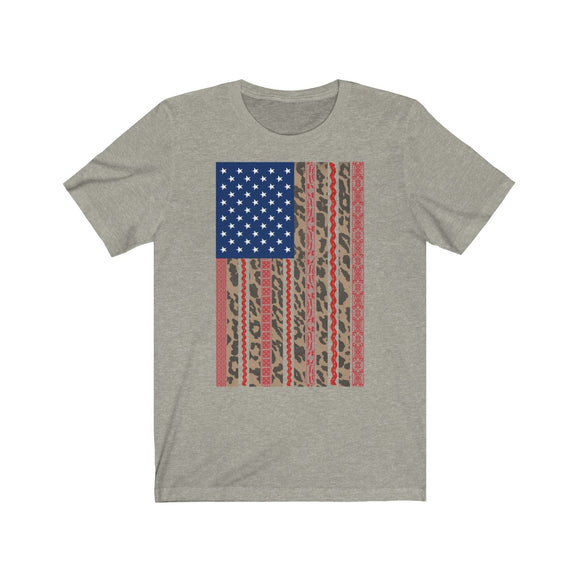 Leopard Lace American Flag Short Sleeve Tee