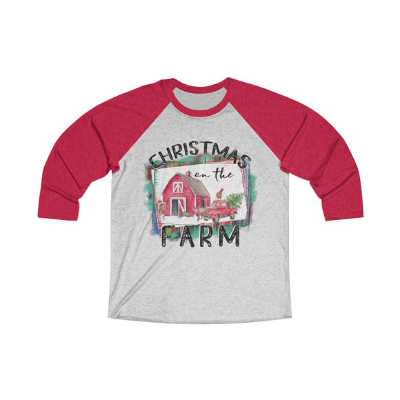 Christmas on the Farm Tri-Blend 3/4 Raglan Tee