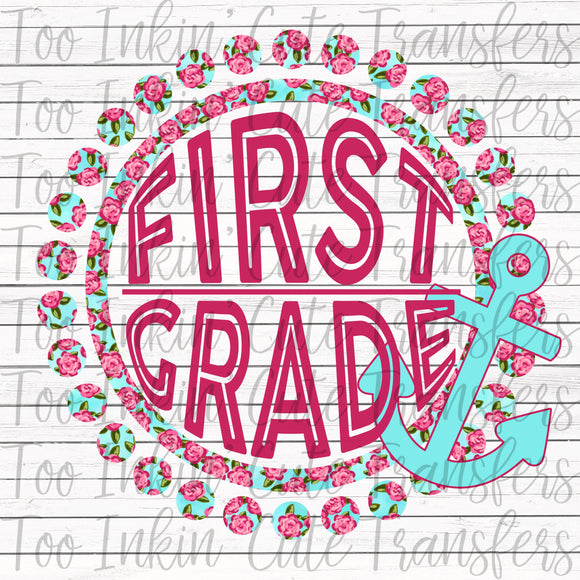 First Grade Floral Anchor Transfer