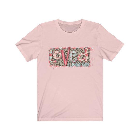 Patchwork Loved with Scripture Short Sleeve Tee