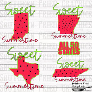 Sweet Summertime 50 States+USA Digital Graphic Bundle