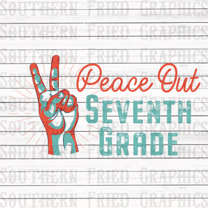 Peace Out Seventh Grade Graphic