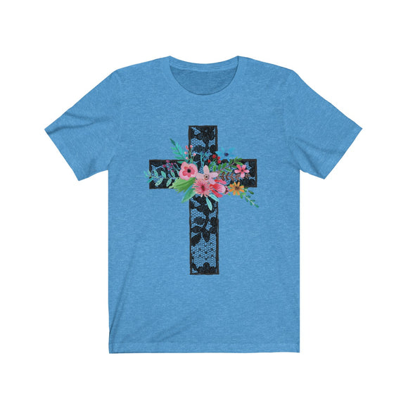 Lace Cross Short Sleeve Tee