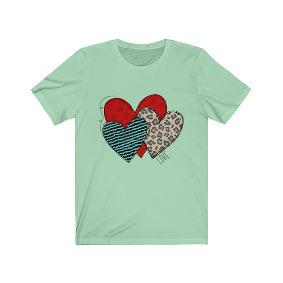 Patterned Heart Love Unisex Jersey Short Sleeve Tee