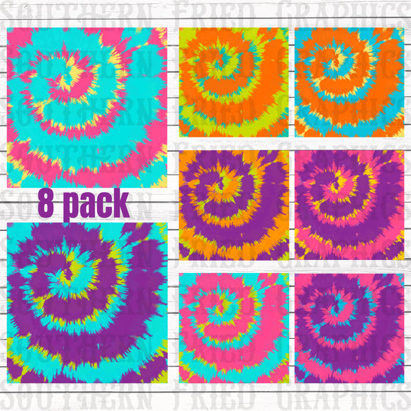 Bright Tie Dye Pattern Digital Graphic Bundle
