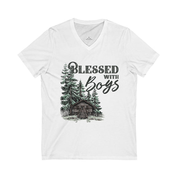 Blessed with Boys Unisex Jersey Short Sleeve V-Neck Tee