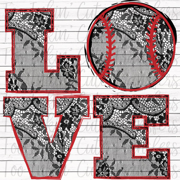 Lace Baseball Love Transfer