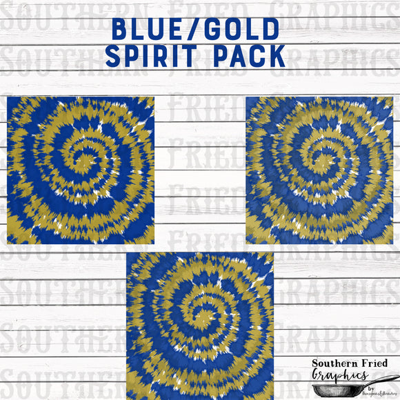 School/Team Spirit Gold & Blue Tie Dye Pattern Digital Graphic Bundle