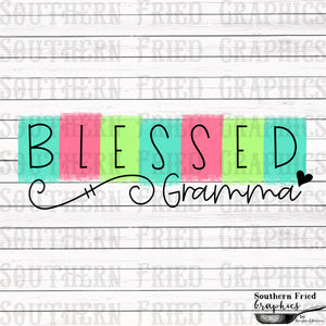Color Block Blessed Gramma Printable Digital Graphic