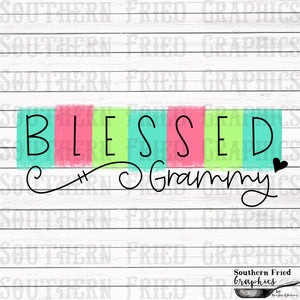 Color Block Blessed Grammy Printable Digital Graphic