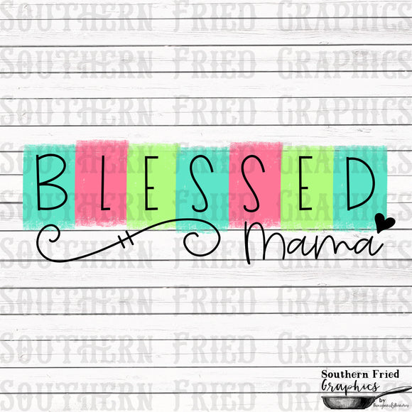 Color Block Blessed Mama Printable Digital Graphic