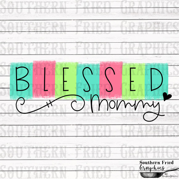 Color Block Blessed Mommy Printable Digital Graphic