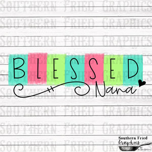 Color Block Blessed Nana Printable Digital Graphic