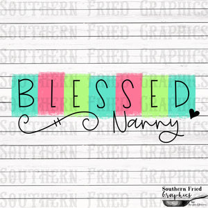 Color Block Blessed Nanny Printable Digital Graphic