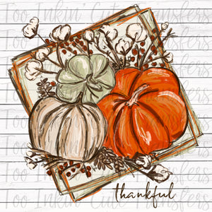 Thankful Chalk Pumpkins Transfer