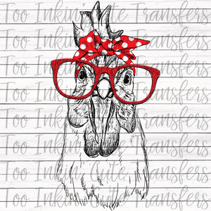 Chicken in Bandana and Glasses Transfer