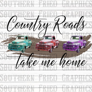 Country Roads Take Me Home Digital Graphic