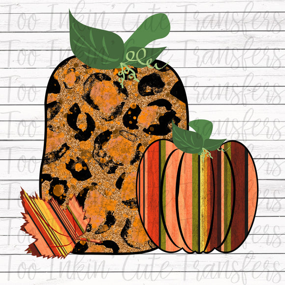Leopard and Stripe Pumpkins Transfer