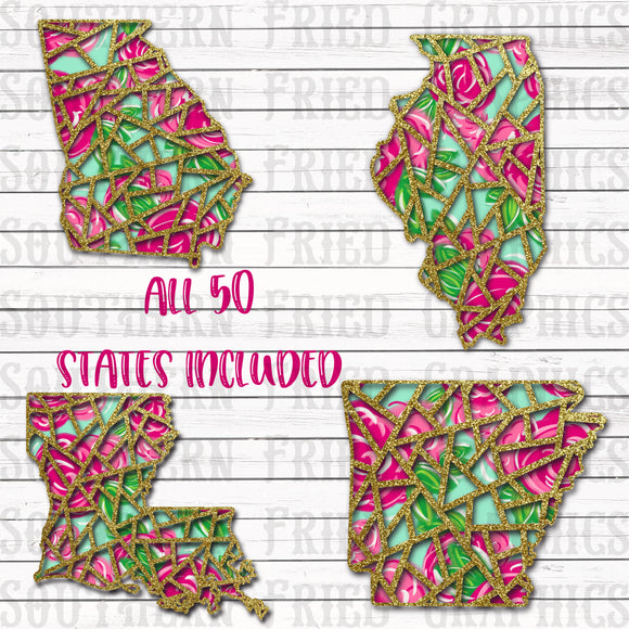 Floral Preppy Cutout 50 States Digital Graphic Bundle