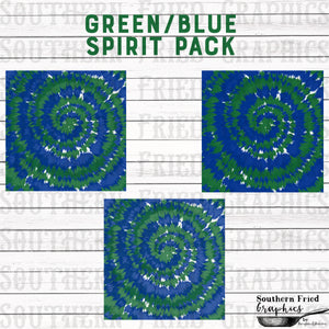 School/Team Spirit Green & Blue Tie Dye Pattern Digital Graphic Bundle
