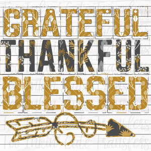 Mustard Floral Grateful, Thankful & Blessed Transfer