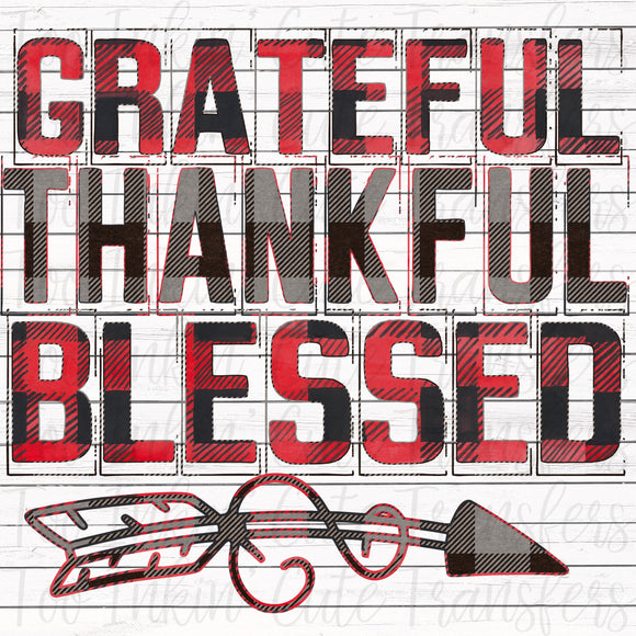 Plaid Grateful, Thankful & Blessed Transfer