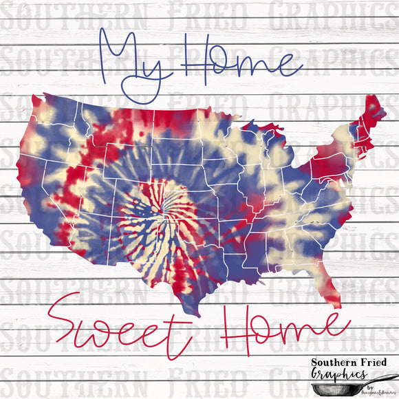 Home Sweet Home Tie Dye Print Screen Transfer RTS