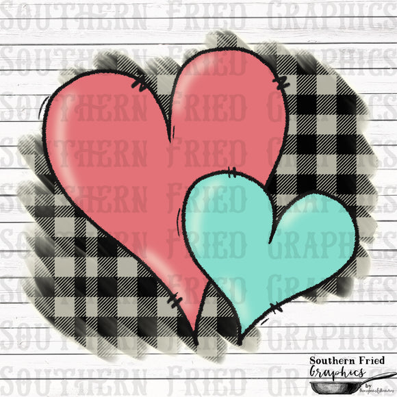 Plaid Hearts with No Text  Printable Digital Design