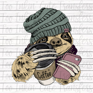Hipster Sloth Sublimation Transfer