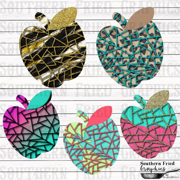 Shattered Apple Template Digital Graphic Set