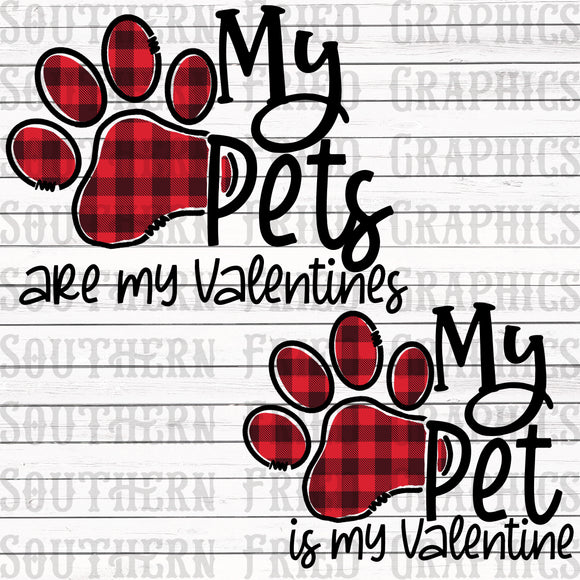 My Pet is my Valentine Plaid Digital Design, multiple variant included