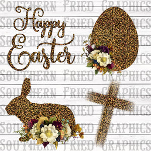 Leopard Floral Easter Digital Graphic Bundle