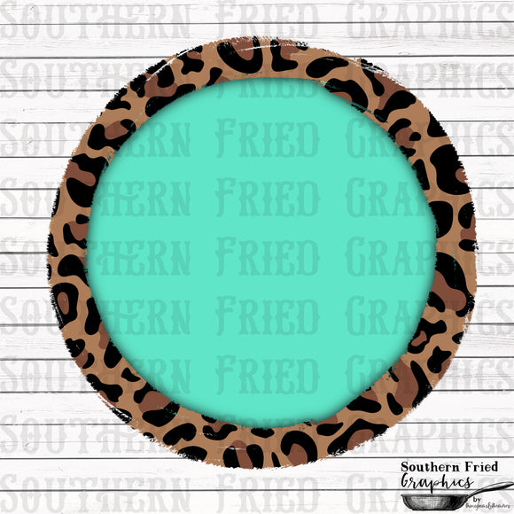 Leopard & Turquoise Monogram Frame Digital Graphic