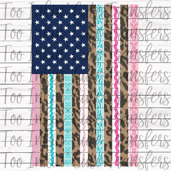 Leopard and Lace American Flag Transfer