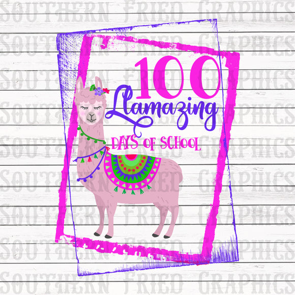 Llamazing 100 Days of School Digital Graphic