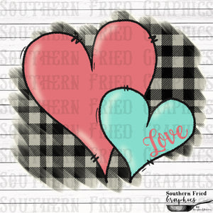 Plaid Hearts with Love Text  Printable Digital Design