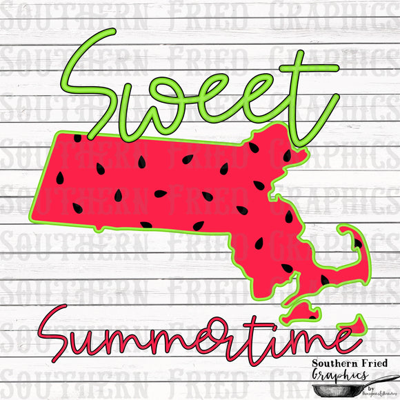 Massachusetts Sweet Summertime Digital Graphic