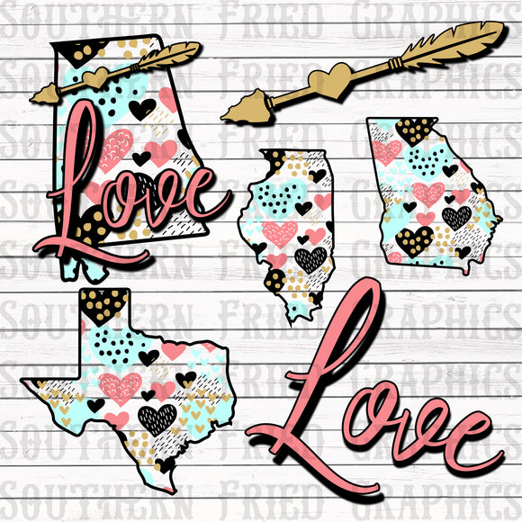 Love States 50 States Digital Graphic Bundle