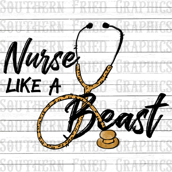 Nurse like a Beast/Leopard Stethoscope Digital Graphic Set