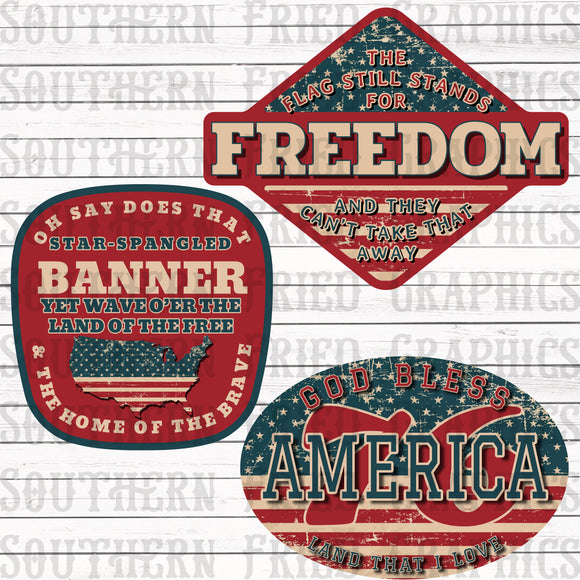 Mini Flag Patriotic Digital Graphic Bundle