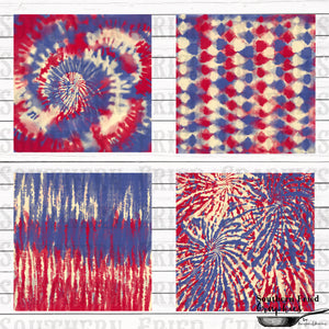 Patriotic Tie Dye Pattern Digital Graphic Bundle