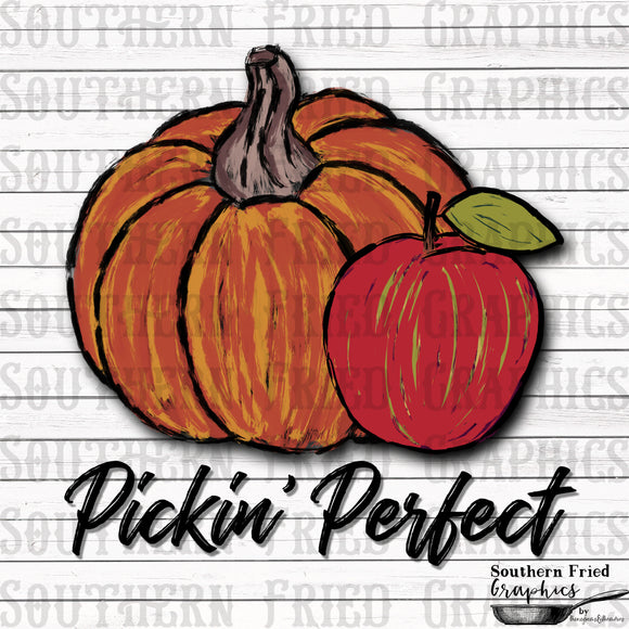 Pickin' Perfect Pumpkin and Apple Digital Graphic