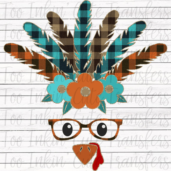 Glitter Plaid Turkey Transfer