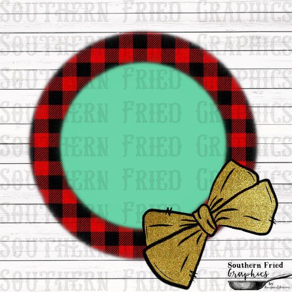 Plaid with Bow Monogram Frame Digital Graphic