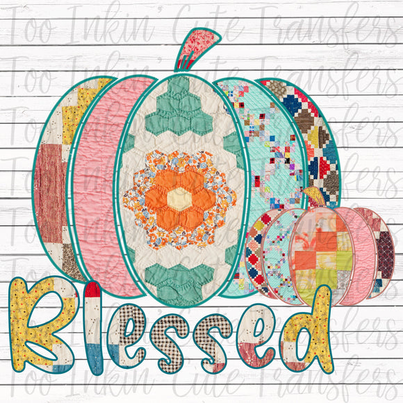 Quilted Blessed Pumpkin Transfer