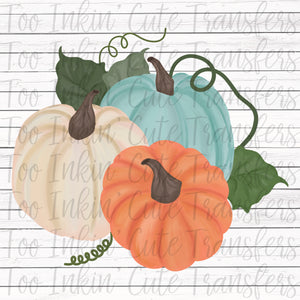 Hand Drawn Chalky Pumpkins Transfer