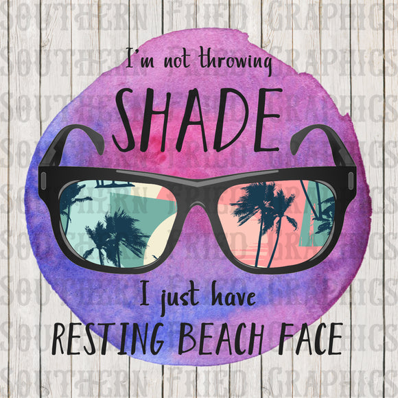 Resting Beach Face Watercolor Digital Graphic