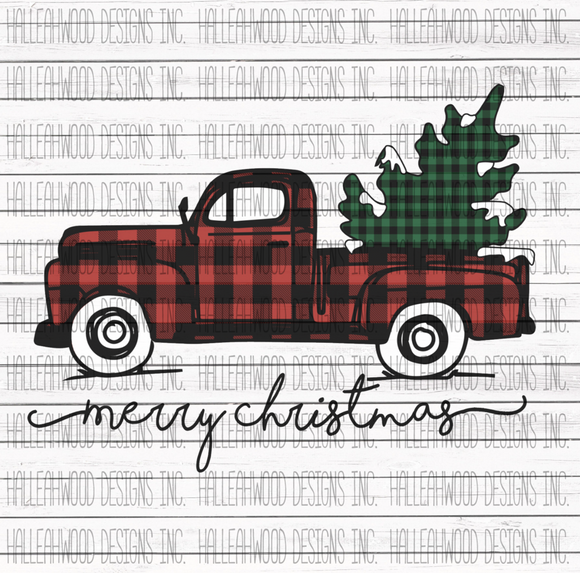 Merry Christmas Plaid Truck Screen Print Transfer RTS