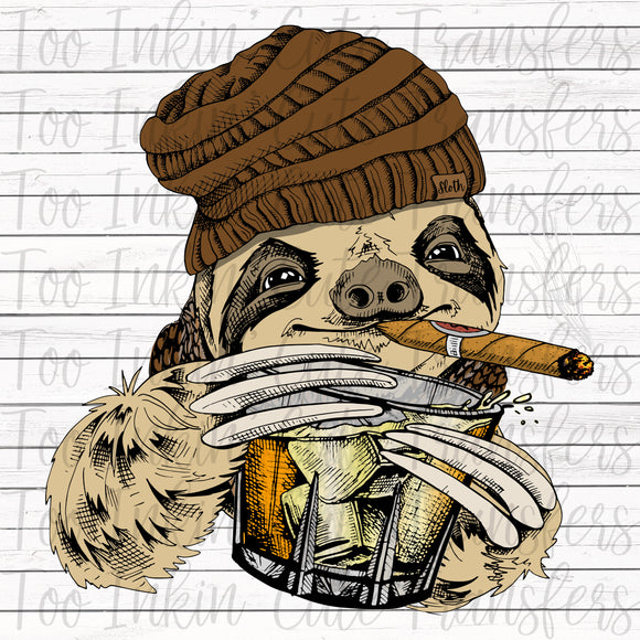 Sloth with Cigar and Whiskey 2 Sublimation Transfer